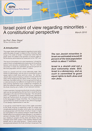 Israel point of view about Minorties