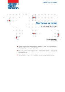 Elections in Israel Eytan Schwartz